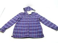 LL Bean Women's S Plaid Button Front Fleece Lined Hooded Flannel Shirt Jacket
