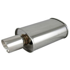 """Polished Spun-locked Exhaust Oval Muffler Double Wall 3.5"""" Slant Tip for Scion"""