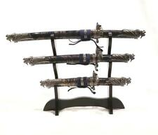 New Blue Dragon Fantasy Etched Blade Dagger Set w/ Wood Stand - Nwt