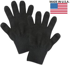 Black Wool Blend Glove Liner - Winter Cold Weather Military Blank Gloves US Made