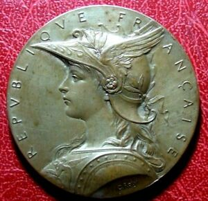 Art Nouveau Marianne winged helmet Shooting competition medal Louis-Oscar Roty