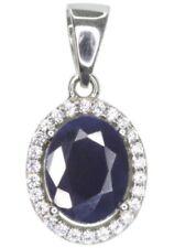 Cubic Zirconia Sapphire Sterling Silver Fine Necklaces & Pendants