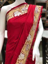 Semi-Crepe Zari Embroidered Kashmiri Saree, Indian Ethnic Dress, Girls Sarees
