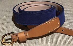 Vineyard Vines Suede Belt Navy Blue Contrast Leather Tan Thin Gold 34 35 36 j