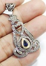 Handmade Antique 925 Sterling Silver Diamond Blue Sapphire Pendant