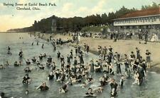 Old Print. Cleveland, Ohio. Crowd in Water at Euclid Beach Park