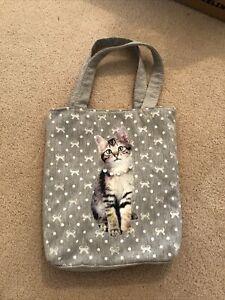 Grey Cat Mini Tote Bag