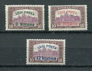 HUNGARY 1920 C3-C5 AIRMAIL OVERPRINT SET SET PERFECT MNH