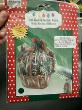 Gift Basket Shrink Wrap Red 24 in. x 30 in. With 3 Accent Ribbons New!!!