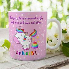 """Kaffeetasse Einhorn - Tasse mit Spruch """"Scheiss Drauf"""" - Unicorn lustig, rosa"""