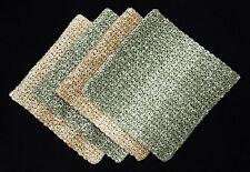 4 NEW Cotton Crochet Dishcloths Eco-Friendly Handmade Washcloths GREEN & BROWN