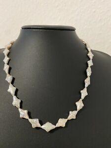 Süßwasserzuchtperlen Sternen Collier Kette Perlen ca 9x12  mm Länge 44 cm