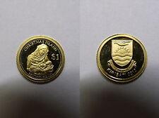 Kiribati , 1 Dollar 2012 PP , Mutter Gottes m. Kind ,  kleinste Goldmünze , # 10