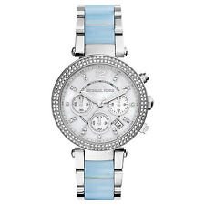 ** Nuovo * donna Michael Kors BLU CRYSTAL PARKER BICOLORE WATCH mk6138-Rrp £ 259