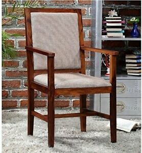 Wooden Arm Chair with Cushions(Natural Teak) / Sheesham Wooden Comfort Chair