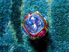 Kenneth Jay Lane Large Crystal Gold Adjustable Ring 5 - 9