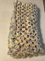 """Knit Crochet Baby Blanket About 32"""" X 38"""" Handmade Blue Yellow Pink White"""