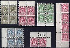 JORDAN 1952 KING ABDULLAH NEW CURRENCY BLOCK OVPT VARIETIES DISPLACED TO 20 FILS