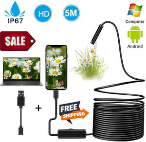 USB Endoscope Pipe Inspection Camera Tube Video Sewer Waterproof Drain Cleaner