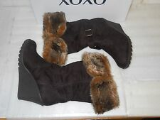 XOXO New Womens Olivia Chocolate Brown Wedge Boots 7.5 M Shoes