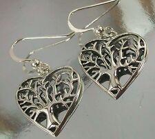 925 Sterling Silver Love Heart Tree of Life Hook Earrings 18.5mm x 19mm oxidised