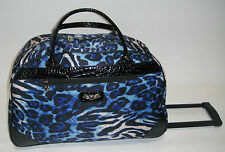 NEW KATHY VAN ZEELAND BLUE LEOPARD WHEELED DUFFLE LUGGAGE CITY BAG $120 PATENT