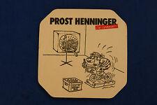 Beer Coaster: Prost Henninger Brauerai ~ GERMANY ~ Tread Mill Television Cartoon