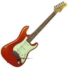 Antoria DSSRED Cosmos 1950 Strat Style Guitare Électrique Effet Vieilli Rouge Vintage s