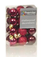 Christmas Tree Decorations Xmas Tree Baubles Glitter Gloss & Matt Cranberry Red