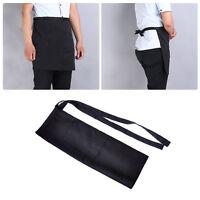 Black Unisex Kellner Kellnerin Taille halbe kurze Sch?rze zwei Taschen