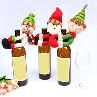 Christmas Santa Snowman Elf Wine Bottle Cover Table Party Decor Ornaments Wrap^
