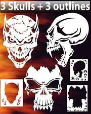 Skull Triple Set #4 Airbrush Stencil Spray Vision Template air brush