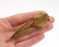 925 Sterling Silver - Vintage Gold Plated Filigree Flower Brooch Pin - BP5687