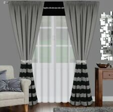 Contemporary Set net curtain with two curtains white grey black ZIRCONS diamante