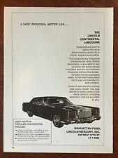 Vintage 1973 Original Print Ad LINCOLN CONTINENTAL LIMOUSINE ~Andy Hotton~