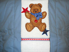 Patriotic Hand Towel Bathroom or Kitchen Star Waving Bear Hand Made New
