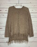 Umgee Boutique Women's S Small Beige Chenille Fringe Warm Cozy Winter Sweater