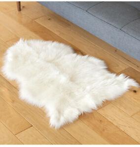 Furs Ultra-Soft Faux Fur Sheepskin Rug Genuine Ivory Pelt 2ft by 3ft