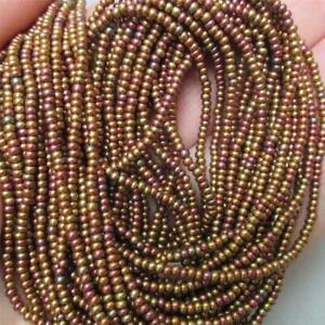 FULL hank Czech Bronze/Gold AB Silk Seed beads, 11/0