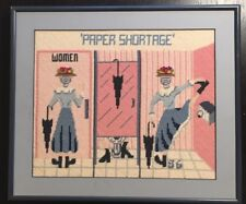 Fine Vintage Needlepoint Bathroom Humor Art PAPER SHORTAGE Lady on Toilet