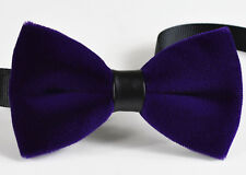 Men Adult Fashion Violet Purple Blue Velvet Bow Tie Bowtie Craft Wedding Party