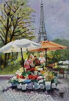 YARY DLUHOS ORIGINAL OIL PAINTING Paris Sidewalk Flower Stand Eiffel Tower Girls
