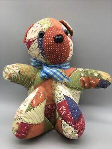"""Vtg Folk Art Teddy Bear Plush Original Patchwork Art Decor Stuffed Animal 11"""""""