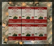 ⭐Lot of 6 Holiday Time 100 Clear Mini Lights - Christmas Wedding NEW Green Wire