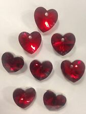 8 Beautiful Crystal Cut Glass Heart Shape Bead - Red Colour Silver Backed -14mm