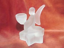 "SMITH HAND CRAFTED 5"" FROSTED GLASS ANGEL CANDLE HOLDER"