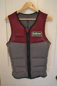 Large Follow Derek Cook Red and Grey Impact Vest Wakeboarding