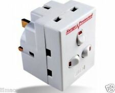 New! Plug-In Surge Protected 3-Way Neon Switched Socket Adaptor 13A UK Mains