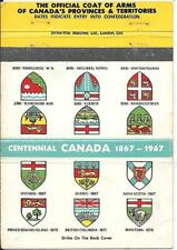 THE OFFICIAL COAT OF ARMS OF CANADA'S PROVINCES & TERRITORIES 40ct. MATCH COVER