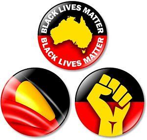 3 x Black Lives Matter 32mm BUTTON PIN BADGES Australia Aboriginal Protest BLM